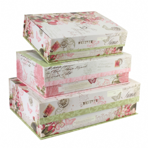 Pretty Floral Storage Boxes - Tri-Coastal Pink and Green Floral Set Of 3 Photo Document Office Storage Box - Gift